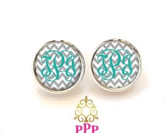 Monogram Earrings, Monogrammed Earrings, Personalized Earrings, Monogram Jewelry, Style 383