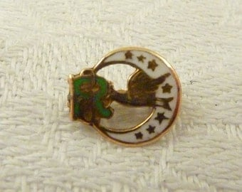 Antique 14k Gold Daughters of Rebekah Green and White Enamel Tiny Lapel Pin