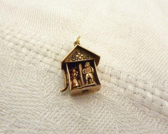 Vintage Gilt Sterling Silver House Charm with Movable Weather Vane and Dutch Boy & Girl