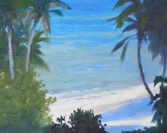 Oil Painting, Indian River Lagoon, 8x10 original painting on canvas pan