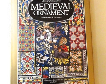 MEDIEVAL ORNAMENT book, 11th - 16th century large book, 48  color plates,