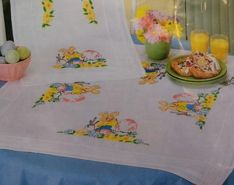 Embroidery Stitch Kit Painted Bunny Table Runner Kit 1283 Village Linens 16x40 table runner