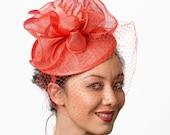 Coral fascinator hat Kentucky Derby coral fascinator veil headband wedding hat MALIKA MALKA