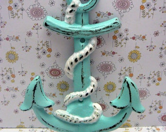 Anchor Cast Iron Wall Hook Blue Shabby Chic Cottage Chic Beach Nautical Home Decor