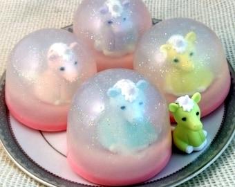 Unicorn Glitter Snow Globe Soap with Iwako Eraser
