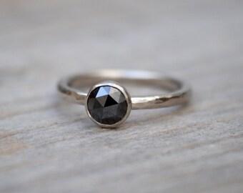 Rose Cut Black Diamond Engagement Ring, Round Diamond Solitaire Ring, Handmade Diamond Wedding Gift