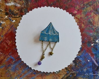 Night Circus Tent blue turquoise gold decorations brooch.  Woodpaper hand painted Victorian brooch