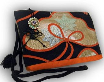 Japanese Vintage Brocade Obi  2-Way Shoulder Bag - Black, Orange/ Pine Motif With Chrysanthemum & Japanese maple