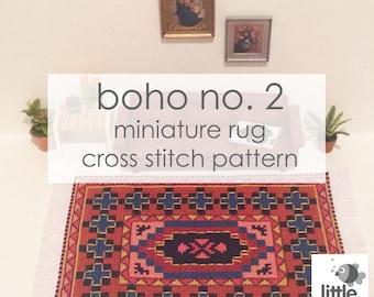 "Instant Download ""Boho No. 2 Dollhouse Floor Rug"" - modern miniature for dollhouse / digital pdf cross stitch embroidery pattern"