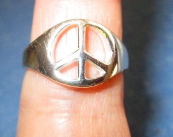 RING - PEACE SIGN  - 925  - Sterling Silver - Vintage - Size 7 misc 456