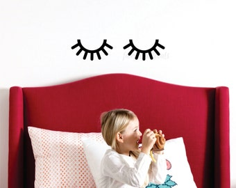 Sleepy eyes decal, baby wall art, nursery wall decals, eyelashes, eyelash wall decal, eye wall decal, wall stickers, vinyl eyelashes art