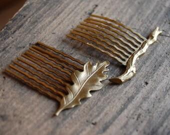 Woodland Mini Gold Hair Comb Slides. Gold Oak Leaf and Gold Twig hair comb slides. Woodland forrest hair accessories.
