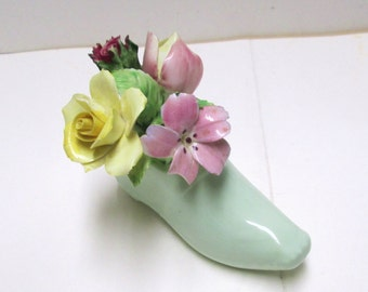 Royal Adderley Floral Bouquet China Shoe Vintage English Bone China Spring Flowers Carnation Rose Collectible Figurine