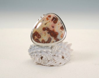 Ocean Jasper Statement Ring in Sterling Silver and 14kt Gold, Translucent
