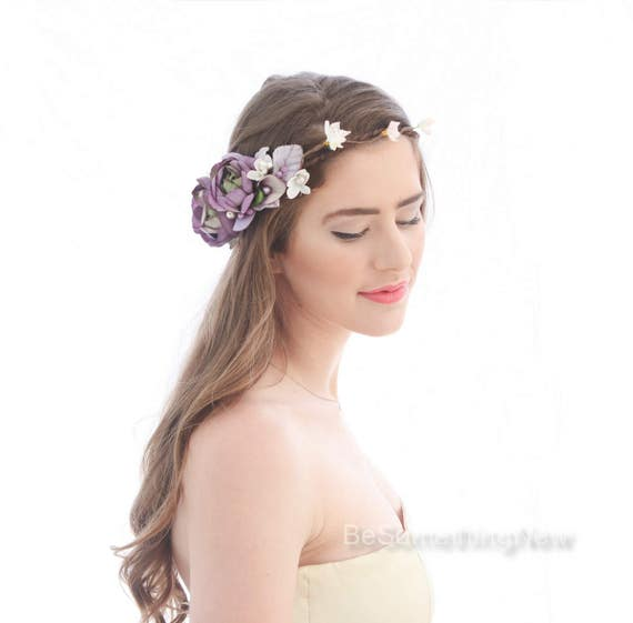 Rustic Flower Crown in Shades of Pink and Purple, Floral Halo Wedding Flower Wreath