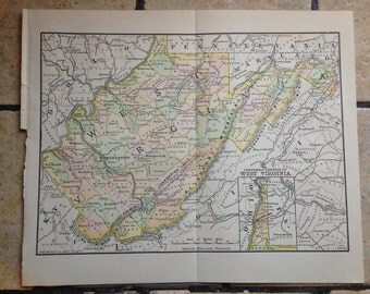1890 Political Map of West Virginia Antique Illustration