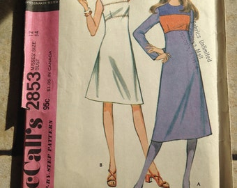 McCall's 2853 Size 12 Misses' Dress Pattern