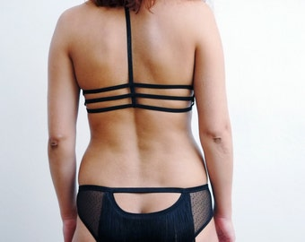 Fringe Burlesque Knickers / Open Back Panties with Fringe Detail / Black and Gray Briefs