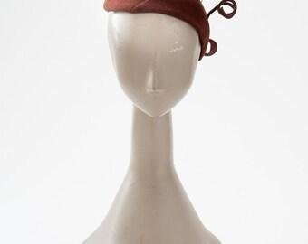 Vintage 1940s Hat, Brown Wool Felt Tilt Hat, New York Creation, Accessories, Hats & Caps, Fascinators Mini Hats