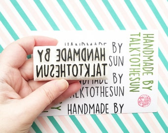 custom handmade by stamp, personalized maker's stamp, name stamps for crafters artists, add name only, read item details for more info