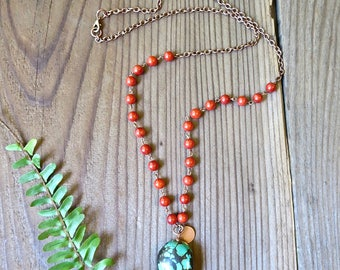 Turquoise Magnesite & Red Beaded Boho Necklace