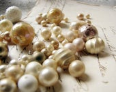 mix lot of faux pearls - vintage beads in various sizes and colours - shabby vintage assemblage jewelry supplies