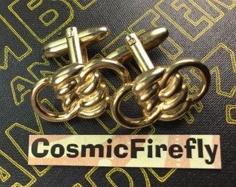 Men's Vintage Cufflinks Antique Gold Plated Brass Steampunk Cufflinks Coiled Rope Knotts Cufflinks