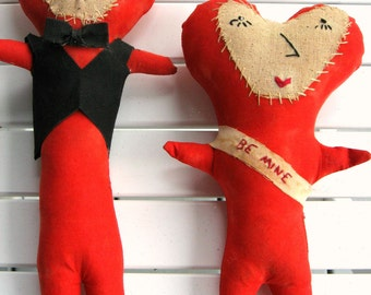 Primitive Valentines Dolls, Lovers Shelf Sitters Ornies