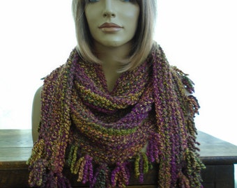 Havana burgundy green orange yellow  triangle scarf shawl wrap with fringes by irish granny soft stretchy