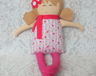 Rag doll, soft doll, baby doll, gift for a girl, pink, flowers, blonde hair, valentines day, cloth doll, doll, ready to ship, unique gift