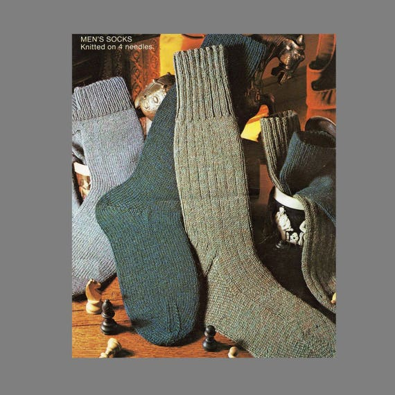 PDF Sock Pattern / 4 Ply Socks in three styles using four needles / Men's Socks Knitting Pattern / PDF instant download  /Post Free Patterns