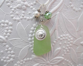 Sea Glass Necklace Sand Dollar Beach Seaglass Sterling Charm Jewelry Pendant