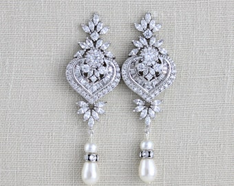 Crystal Bridal earrings, Bridal Jewelry, Wedding earrings, Long earrings, Swarovski crystal earrings, Art Deco earrings, Rose gold EMMA