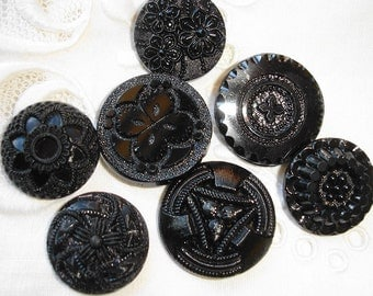 Antique, Old Black Glass Buttons with different textured design