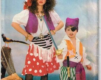 Pirate Sewing Pattern Boys, Girls Children Butterick 6730 Gypsy Halloween Costume Child size 4 5 6 7 8 10 12 14 DIY Uncut Factory Folded
