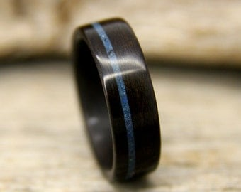Wood Ring - Ziricote Wooden Ring with Offset Lapis Lazuli Inlay - Handcrafted Bentwood Wedding Ring - Custom Made
