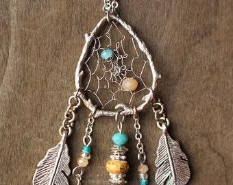 Couture Matte Silver Birds Nest Dreamcatcher Necklace Dream Catcher One of a Kind 20