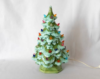 ceramic Christmas tree/with lights/11 inches/vintage Christmas