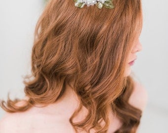 Floral hair comb , bridal comb, green- Style 3004 - ready to ship -FREE SHIPPING*
