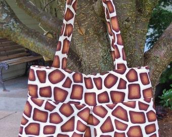Giraffe Animal Print - Bag, Purse, Shoulder Bag, Hobo, Outside Pockets