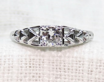 Art Deco 18k Gold Diamond Engagement Ring with Geometric Band .35 Carats