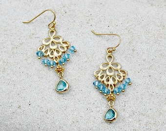 Aqua and Gold Chandelier Earrings, Crystal Dangle Earrings, Bohemian Wedding Jewelry