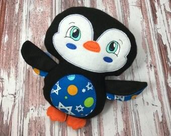 Penguin Softie / Hanukkah Softie / Personalized Penguin / Hanukkah Penguin / Stuffed Penguin / Hanukkah Gift / Hanukkah Decoration