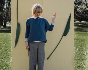 Blue avio cotton fleece oversize sweater, kimono cut sleeves, reversible striped sleeves