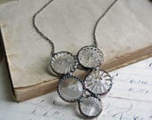 Glass Button Bib Necklace, One of a Kind Recycled Jewelry
