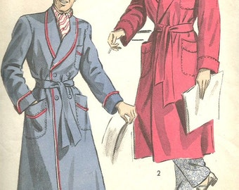 Vintage 40s Advance 4936 UNCUT Mens Shawl Collar Robe Sewing Pattern Size Med Chest 38-40