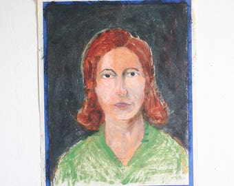 Vintage Lady Portrait / Outsider Art / 15 x 19 / Original Acrylic Painting on Found Paper