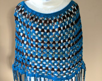 Fabulous Crocheted Poncho in Teal and Brown Yarns - one size fits most Small to Large