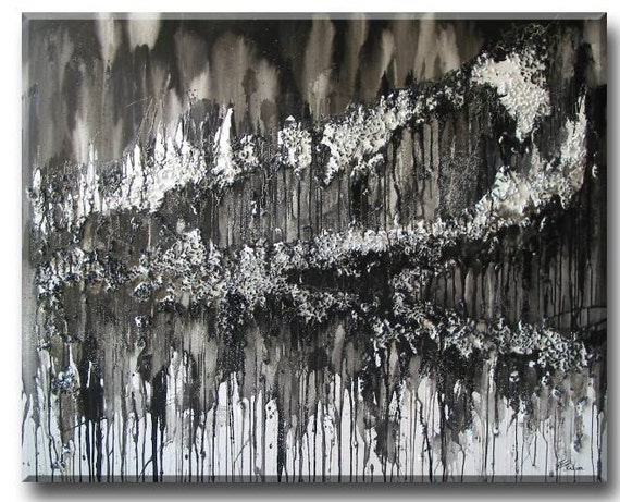 original large huge Global Warming Abstract Landscape painting - White monochrome Black Global Warming Art