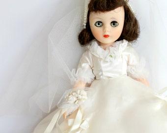 Vintage American Character Toni Bride Doll 14 Inch Original Box Mid Century